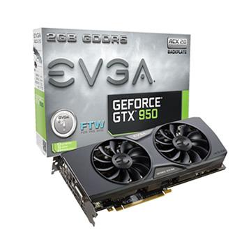 EVGA 艾維克GTX950 2G FTW BP 2BIOS GDDR5顯卡