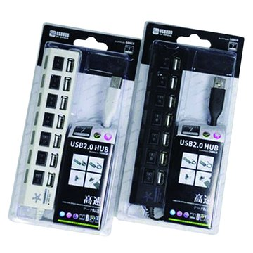 HE8A-B 7埠USB2.0 HUB黑