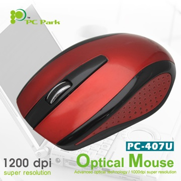 PC Park PC-407UBR光學滑鼠/USB(紅黑)