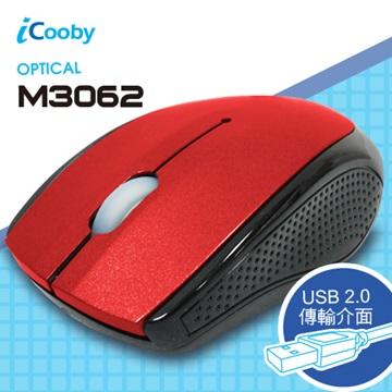iCooby M3062BR光學滑鼠/USB(黑紅)