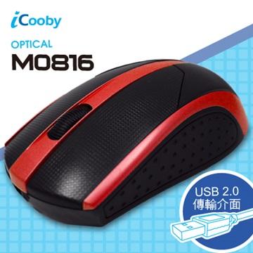 iCooby M0816BR光學滑鼠/USB(黑紅)