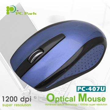 PC Park PC-407BB光學滑鼠/USB(黑藍)