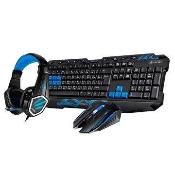 T.C.STAR 連鈺KIT9908BU 電競耳麥鍵鼠組/USB(藍)