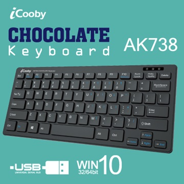 iCooby AK738薄型巧克力鍵盤/USB(黑)
