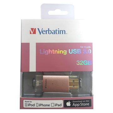 Verbatim 威寶Lighting 32G USB3.0 Apple OTG 隨身碟-玫金
