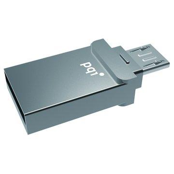 PQI 勁永 Connect 201 32GB micro USB OTG 隨身碟-鐵灰