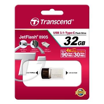 Transcend 創見JetFlash 890 32GB USB3.0 type-c OTG  隨身碟-銀