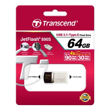 Transcend 創見JetFlash 890 64GB USB3.0 type-c OTG  隨身碟-銀