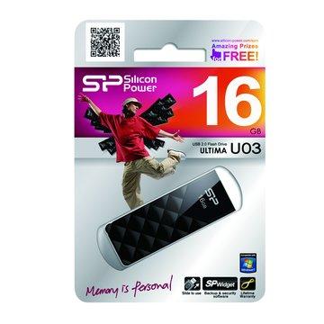 SILICON POWER Ultima U03 16GB 隨身碟-黑