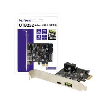 Uptech UTB252 4埠USB3.0擴充卡PCI-e