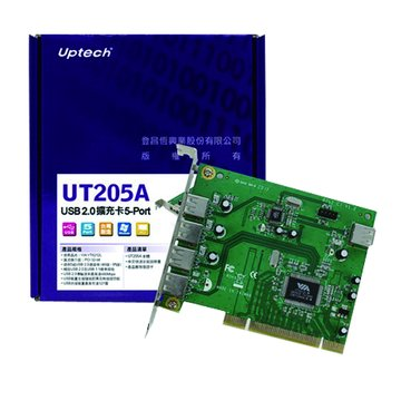 Uptech UT205A 5埠USB2.0擴充卡PCI