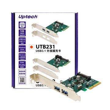 Uptech UTB231 2埠USB3.1外接擴充卡PCI-E
