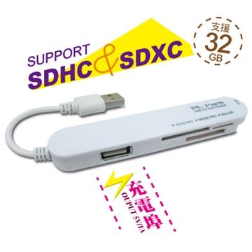 PC Park R-101(USB擴充槽僅充電)讀卡機(白)