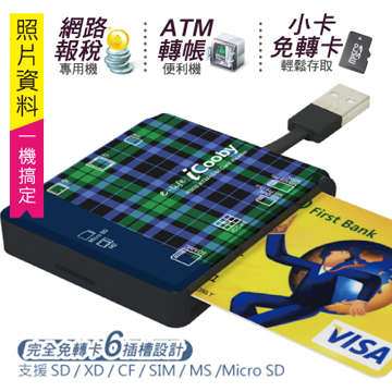 iCooby R909 多合一晶片讀卡機(綠格紋)