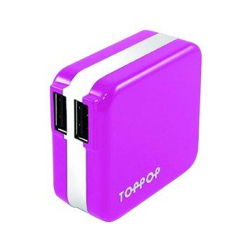 TOPP OP TOPPOP 馬卡龍 2/2.1A 家用充電器-粉紅
