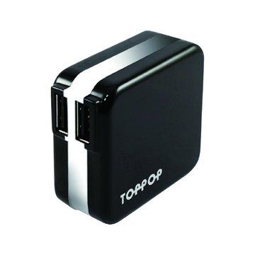 TOPP OP TOPPOP 馬卡龍 2/2.1A 家用充電器-黑