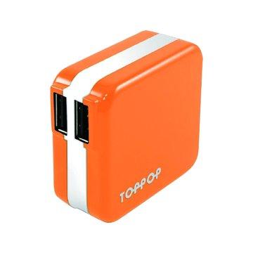 TOPP OP TOPPOP 馬卡龍 2/2.1A 家用充電器-橘