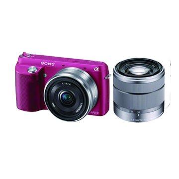 SONY 新力牌 NEX-F3D/PQ桃紅 雙鏡組 單眼相機(福利品出清)