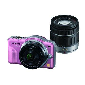 Panasonic 國際牌 DMC-GF3W-P/粉紅/雙鏡組 單眼相機(福利品出清)