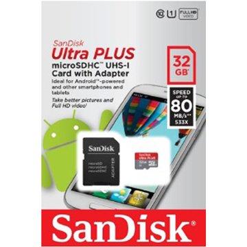 SANDISK Ultra Micro 32G U1附轉卡(讀80