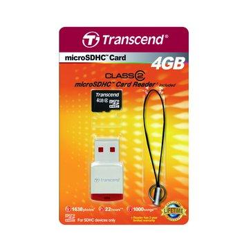 Transcend 創見 Micro 4G CL2記憶卡+P3讀卡機