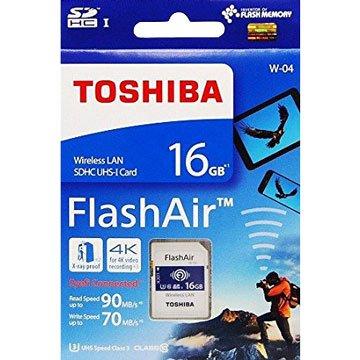 TOSHIBA FlashAir WiFi 16G U3相機卡(讀90Mb/s)