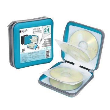 E-books 24入(藍)硬殼拉鍊CD收納包