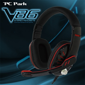 PC Park V86(烈焰紅)頭戴式耳機麥克風