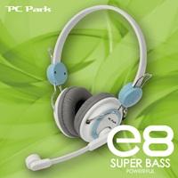 PC Park E8(白藍)頭戴式耳機麥克風(福利品出清)