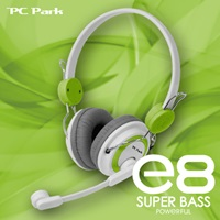 PC Park E8(白綠)頭戴式耳機麥克風