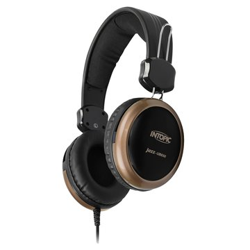 INTOPIC 廣鼎 JAZZ-UB650(棕金)USB頭戴式耳機麥克風(福利品出清)