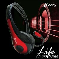 iCooby M70(黑紅)頭戴式耳機麥克風