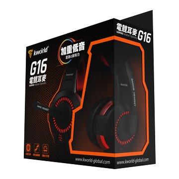 KWORLD 廣寰G16(黑紅) 頭戴發光電競耳麥