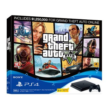 SONY 新力牌 PS4主機(500G黑) 俠盜獵車手5新年享樂同捆