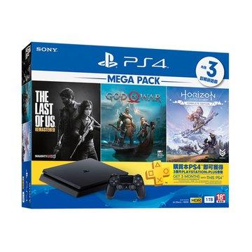SONY 新力牌 PS4主機(1TB 黑) MEGA PACK 同捆組