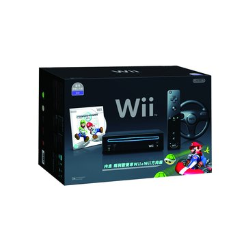 Nintendo 任天堂 WII主機黑-瑪利歐賽車組合套裝(福利品出清)