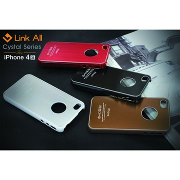 Link All iPhone4S 髮絲紋-(紅) 保護殼