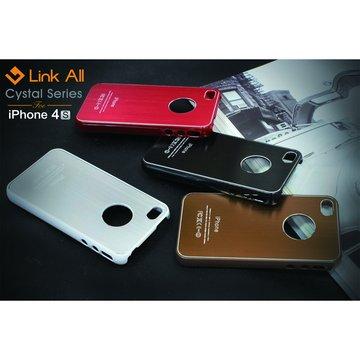 Link All iPhone4S 髮絲紋-(棕) 保護殼