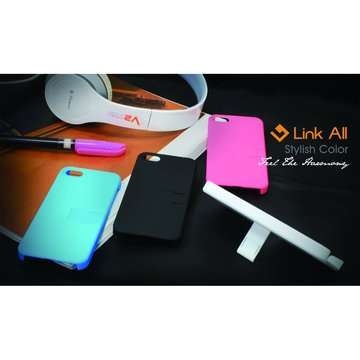 Link All iPhone5 支撐型皮革-(桃紅) 保護殼