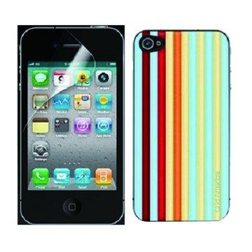 id America id iPhone 4/4S高透光保護貼組合(紅條)