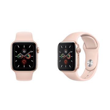 APPLE 蘋果Watch S5 GPS-金色鋁金屬錶殼+粉色運動錶帶44mm_MWVE2TA/A(客訂)