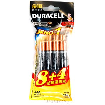 DURACELL 金頂新金頂鹼性電池4號8+4入