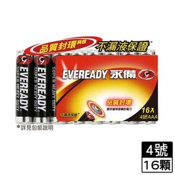 EVEREADY 永備永備碳鋅電池4號16入