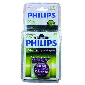 PHILIPS 飛利浦4號低自放充電池4入+兩槽充電器