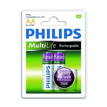 PHILIPS 飛利浦3號低自放2000mAh充電電池2入