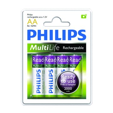 PHILIPS 飛利浦3號低自放2000mAh充電電池4入