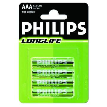 PHILIPS 飛利浦碳鋅電池4號4入
