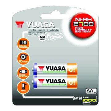 YUASA 湯淺台達 3號2700mA*2充電池