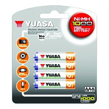 YUASA 湯淺台達 4號1000mAh*4充電池