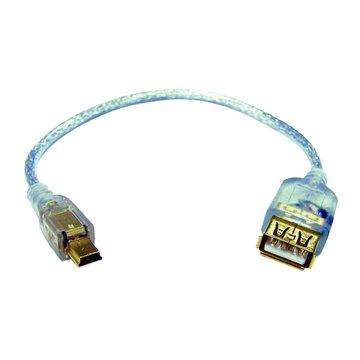 S.C.E 世淇USB A母/迷你5PIN鍍金透明線 25CM